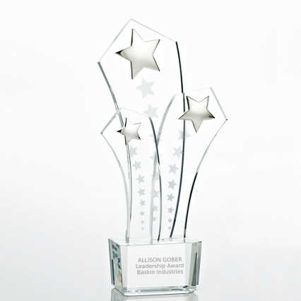 Shooting Star Trio Crystal Trophy
